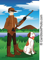 Duck hunter with his dog