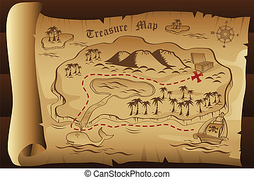 Treasure map - A vector illustration of treasure map