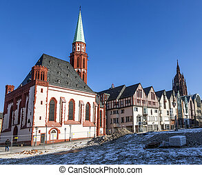 old Nikolai Church in Frankfurt at the central roemer place...