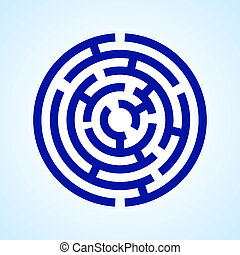 Labyrinth - Illustration of round blue labyrinth on light...