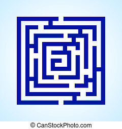 Labyrinth - Illustration of blue square labyrinth on light...