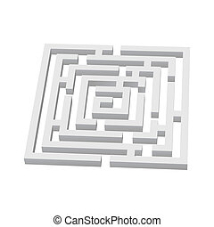 Labyrinth  - White square 3d labyrinth on white background