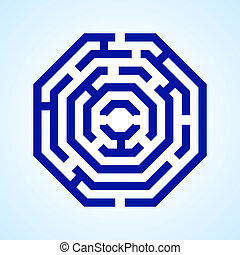 Labyrinth - Illustration of blue labyrinth in octangle shape...