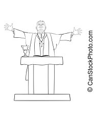Priest - The Catholic priest celebrating Mass at the altar