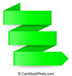 Green paper arrow - Three-step green zigzag paper arrow on...