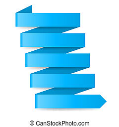 Blue paper arrow - Blue zigzag paper arrow on white...