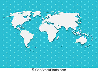 Paper World Map on Blue Background Vector Illustration