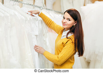 bride chooses bridal gown - pretty bride chooses bridal gown...