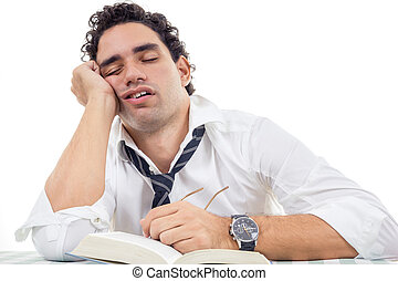 sleepy and tired man with glasses in white shirt and tie...