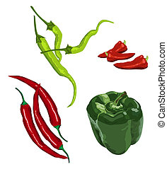 Peppers - Clip-arts of various peppers