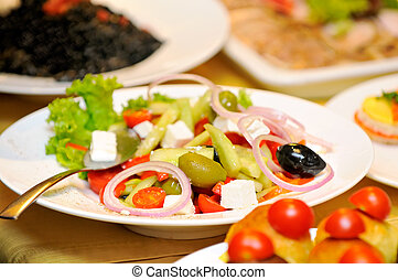 Closeup on plate with salad