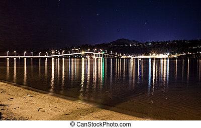 橋梁, 發光, 夜晚