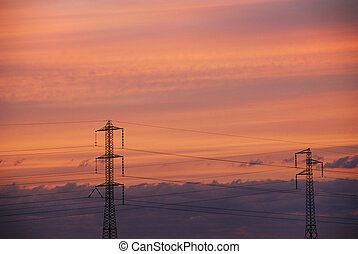 Electrical sunset - Sunset on summer landscape with...