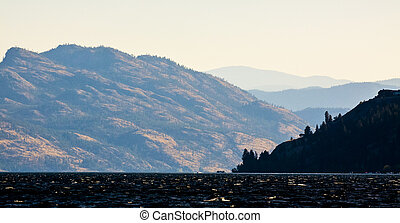 scenico, lago,  Okanagan, vista