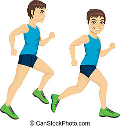 Male Runner Poses - Side view full body male runner on two...