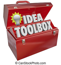 Idea Toolbox with words and lightbulb in a red metal box of tools to illustrate creativity, inspiration and brainstorming