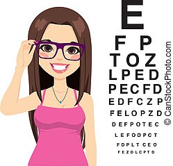Girl At Ophthalmologist - Beautiful young girl with glasses...