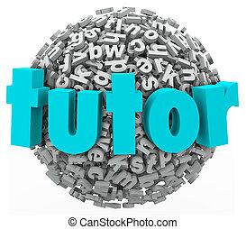 tutor, carta, Pelota, esfera, aprendizaje, lecciones,...