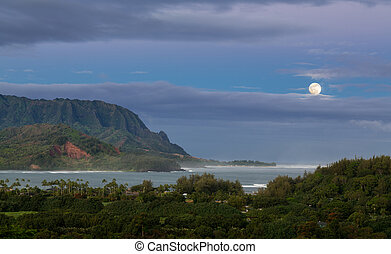 Panorama of Hanalei on island of Kauai - Bay at Hanalei in...