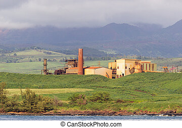Abandoned sugar mill on coast of Kauai