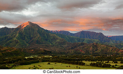 Panorama of Hanalei on island of Kauai - Mountains of the Na...