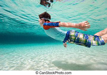Boy swimming underwater - Cute little boy swimming...