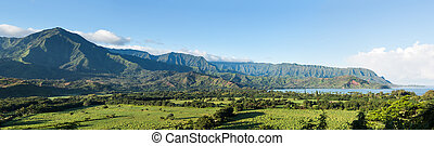 Panorama of Hanalei on island of Kauai - High resolution...