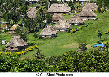 Traditional houses of Navala village, Viti Levu, Fiji -...
