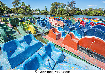 Boats on Palermo Woods in Buenos Aires, Argentina. -...