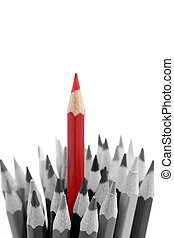 Pencils - Red pencil standing out from others