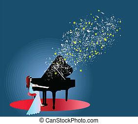 鋼琴, 婦女, 音樂, 玩