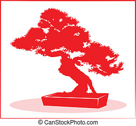 Bonsai tree in red silhouette.