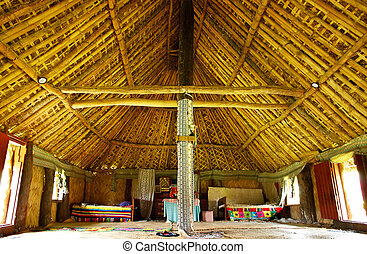 Interior of traditional house, Navala village, Viti Levu,...