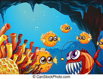 A group of puffer fishes and a scary piranha inside the cave...