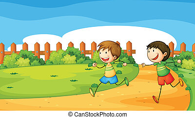 Two boys playing inside the wooden fence - Illustration of...