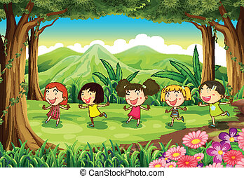 Five girls playing in the middle of the forest