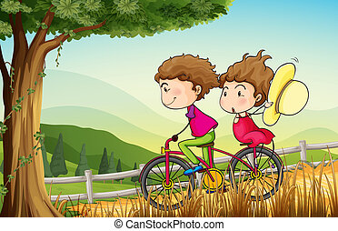 A couple riding on a bicycle