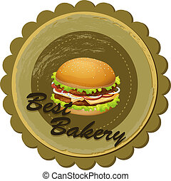 A best bakery label with a burger