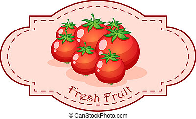 A fresh fruit label with fresh tomatoes - Illustration of a...