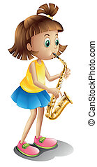 A young lady playing with the saxophone