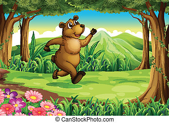 A bear running at the forest - Illustration of a bear...
