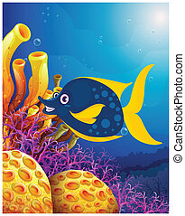 A big smiling fish near the coral reefs - Illustration of a...