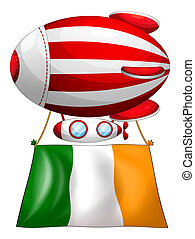 A stripe-colored balloon with the flag of Ireland