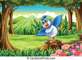 A blue bird above the stump at the forest - Illustration of...