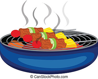 Barbeques cooked above the barbeque grill - Illustration of...
