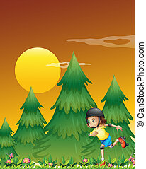 A girl rollerskating near the pine trees - Illustration of a...