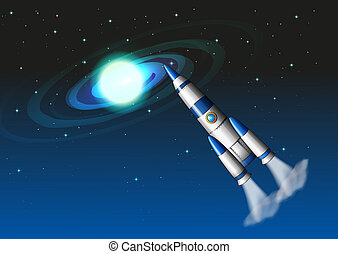 A rocket in the sky - Illustration of a rocket in the sky