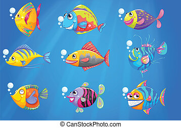 A group of beautiful fishes under the sea - Illustration of...