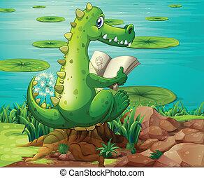 A crocodile reading near the pond