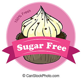 A sugar free label with a cupcake